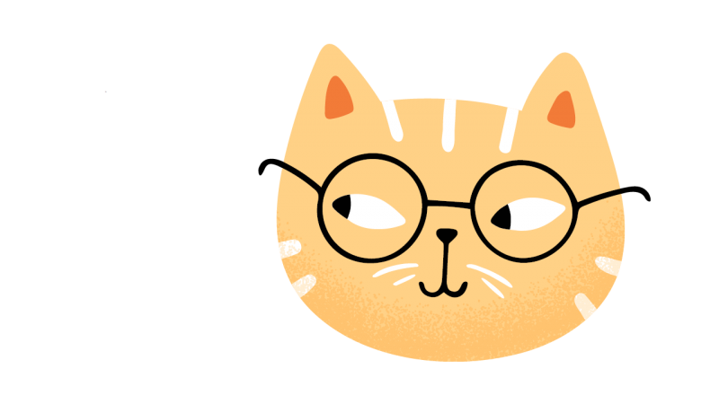 Curios cat with reading glasses