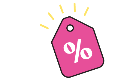 Discount tag icon with yellow rays