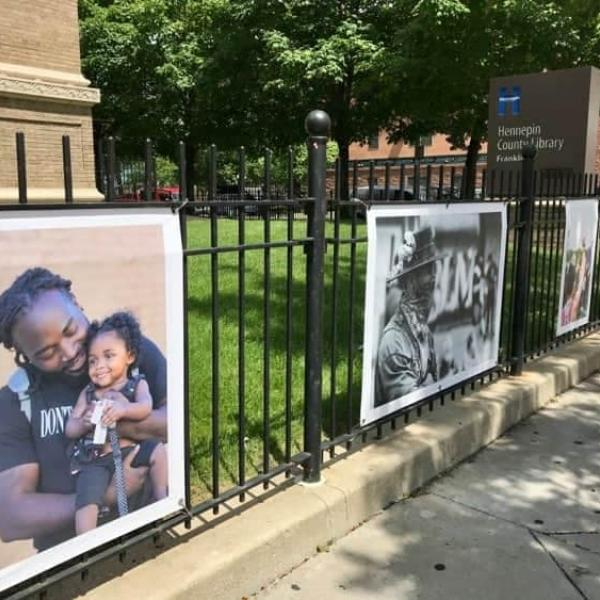 Photo installation at the exterior of Franklin Library